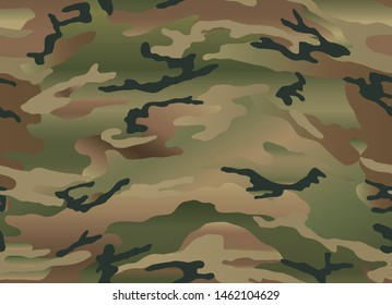 Woodland camouflage seamless pattern. Gradient effect. Beige, green, brown and black.