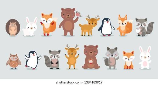 woodland characters -  bear, fox, raccoon, hedgehog, penguin, deer, rabbit, owl and squirrel. Cute forest animals. Vector illustration.