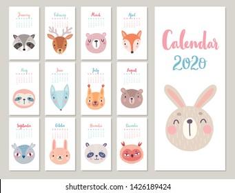 Woodland characters -  bear, fox, raccoon, sloth, panda, deer, rabbit, owl and squirrel. Cute forest animals. Vector illustration.