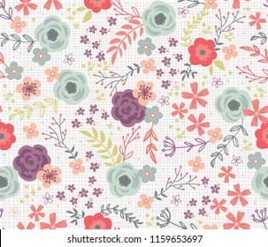 Woodland Cottage Floral Seamless Vector Pattern. Repeating pattern can be used for webpages, packaging, backgrounds, or surface designs.