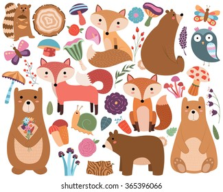 Woodland Forest Animals and Cute Floral Designs Vector