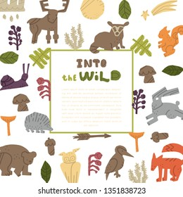 Woodland Forest Animals vector set.  Nature inspired simple geometry shapes, textured illustration.Vector handdrawn isolated square concept.