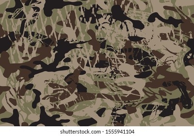 Woodland grunge camouflage, seamless pattern. Military urban camo texture  Army or hunting green and brown colors. Wallpaper for textile and fabric. Vector