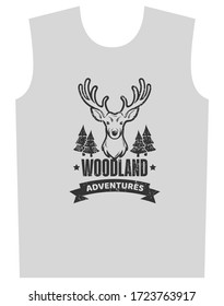 woodland print for t-shirt graphic