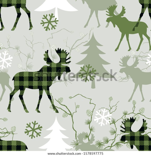 Woodland seamless pattern. Checkered  moose, fir trees, larch branches with cones and snowflakes .  Vector illustration in green colors.