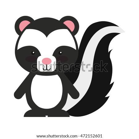 Woodland Zorrillo Animal Character Cute Icon Vector de stock (libre ...