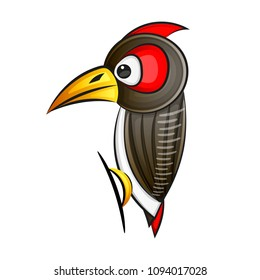 Woodpecker. Abstract woodpecker on white background. Vector illustration