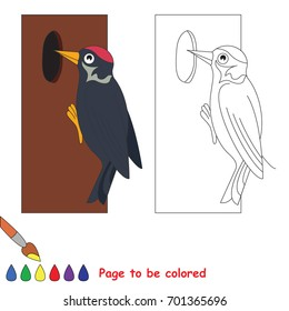 Woodpecker to be colored, the coloring book for preschool kids with easy educational gaming level.