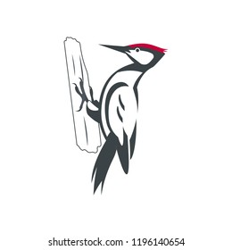 Woodpecker bird. Black silhouette. Flat character design. Black bird icon. Woodpecker template. Vector illustration isolated on white background.