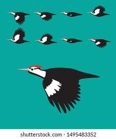 Woodpecker Flying Cartoon Vector Animation Frame
