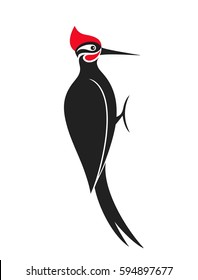 Woodpecker logo. Abstract woodpecker on white background