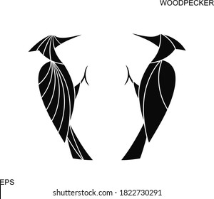 Woodpecker logo. Isolated woodpecker on white background
