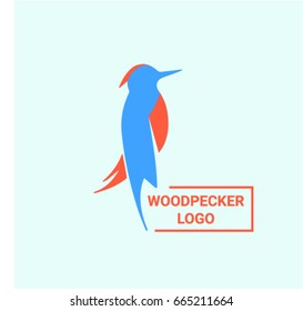 Woodpecker logo on bright background. Blue and red vector illustration