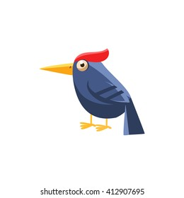 Woodpecker Simplified Cute Illustration In Childish Flat Vector Design Isolated On White Background