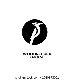 woodpecker with spotted black circle bird logo icon design template vector