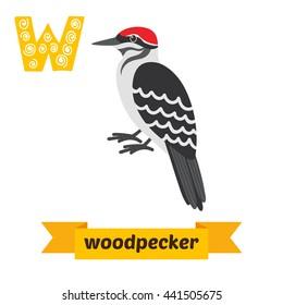 Woodpecker. W letter. Cute children animal alphabet in vector. Funny cartoon animals. Vector illustration