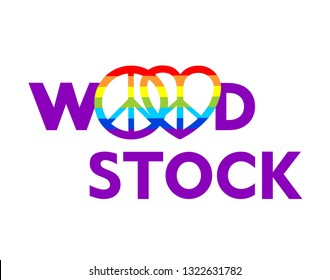 Woodstock lettering and hippie peace symbols with rainbow for t shirt print, party poster and other design on white background