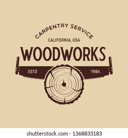 Woodwork badge. Logo for carpentry, woodworkers, lumberjack, sawmill service monochrome vector label, emblem, logo and design elements. Isolated vector illustration.