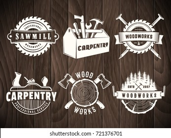 Woodwork badges. Vector logos for carpentry, sawmill, lumberjack service or woodwork shop. Set of labels on vintage wooden background.
