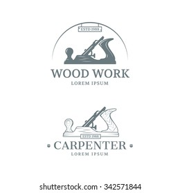 Woodwork and Carpenter vintage style Logotype design. Vector illustration