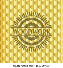 Woodwork gold badge. Scales pattern. Vector Illustration. Detailed.