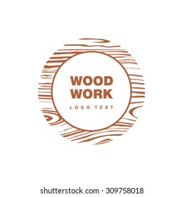 Woodwork logo in circle with wooden pattern