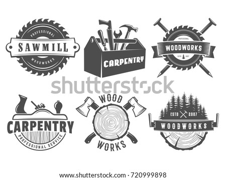 Woodwork Logos Vector Badges Carpentry Sawmill Stock Vector Royalty
