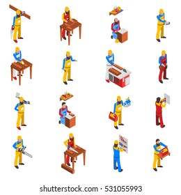 Woodwork people isometric icons set with tools and uniform isolated vector illustration
