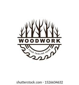 woodwork symbol logo design template