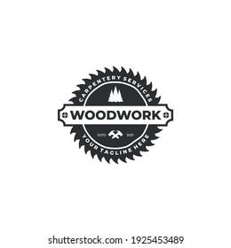 woodwork vintage logo badge template vector illustration design. hammer, wood, and saw logo