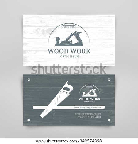 Woodwork vintage style business card design stock vector royalty woodwork vintage style business card design template carpentry tools vector wajeb Gallery