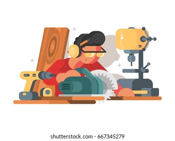 Woodworker man at workplace