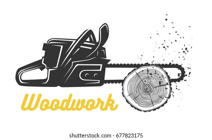 Woodworking. Chainsaw logo template. Black and white vector objects.
