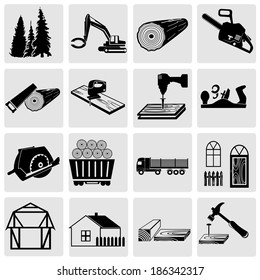 Woodworking and  construction related icons set.