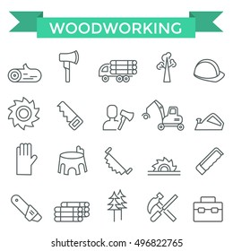 Woodworking icons, thin line design