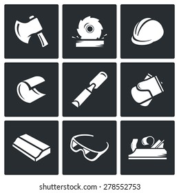Woodworking icons. Vector Illustration.