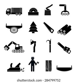 Woodworking industry icons black set with carpenter tree saw isolated vector illustration