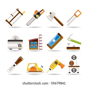 Woodworking industry and Woodworking tools icons - vector icon set
