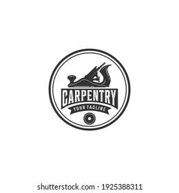 woodworking logo design, grange print stamp, creative carpentry typography emblem, Vector