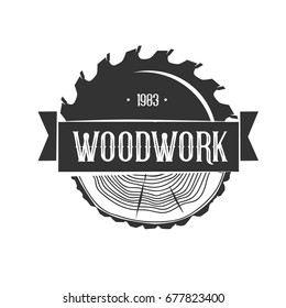 Woodworking. Logo template. Black and white vector objects.