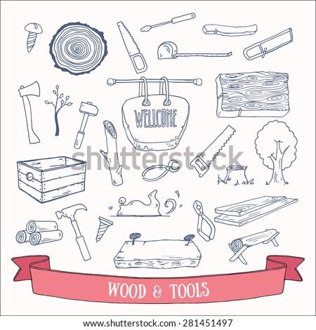 Woodworking Lumberjack Tools Vector Doodles Hand Stock Vector