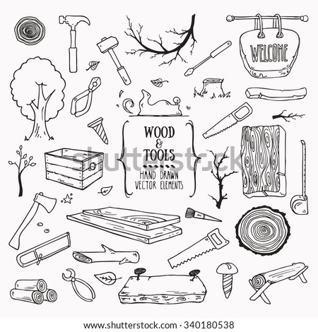 Woodworking Lumberjack Wood Tools Symbols Collection Stock Vector