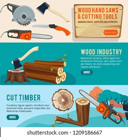 Woodworking production. Banners of wood pictures forestry pile trunks lumberjack cutting tools vector illustrations. Illustration of cut timber, wooden log and lumberjack woodworking