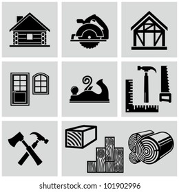 Woodworking and timber house construction related icons set.