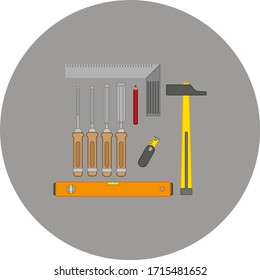 woodworking tool kit. illustration for web and mobile design.
