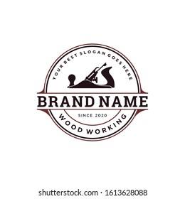 Woodworking tool logo inspiration. Industrial design template. Vector illustration concept
