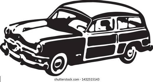 Woody Wagon - Retro Ad Art Illustration