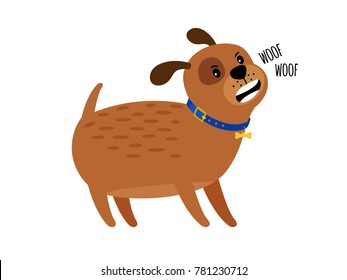 Woof woof dog. Cute puppy dog attack vector illustration