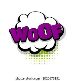 Woof dog hand drawn pictures effects. Template comics speech bubble halftone dot background. Pop art style. Comic dialog cloud, space text pop-art. Creative idea conversation sketch explosion.