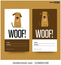 Woof Dog Name Tag ID Card Vector Illustration
